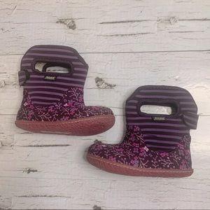Bogs Baby Purple Flower Stripe Fur Lined Boots